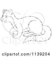 Cartoon Of A Cute Black And White Weasel Royalty Free Vector Clipart by Alex Bannykh