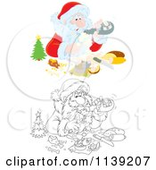Cartoon Of Outlined And Colored Santa Pouring Himself Champagne Over A Meal Royalty Free Vector Clipart