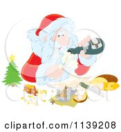 Cartoon Of Santa Pouring Himself Champagne Over A Meal Royalty Free Vector Clipart