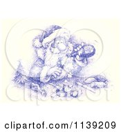 Cartoon Of A Sketch Of Santa Pouring A Drink Over Food Royalty Free Clipart by Alex Bannykh