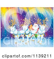 Cartoon Of White Reindeer Pulling Santas Sleigh Against Northern Lights Royalty Free Clipart by Alex Bannykh