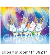 White Reindeer Pulling Santas Sleigh Against Northern Lights