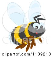 Cartoon Of A Cute Bumble Bee Royalty Free Vector Clipart by Alex Bannykh