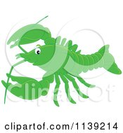 Cartoon Of A Cute Green Lobster Royalty Free Vector Clipart by Alex Bannykh