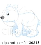 Cartoon Of A Cute Walking Polar Bear Cub Royalty Free Vector Clipart by Alex Bannykh