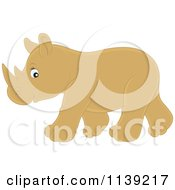 Cartoon Of A Cute Brown Baby Rhino Royalty Free Vector Clipart by Alex Bannykh