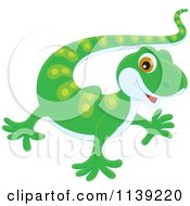 Cartoon Of A Cute Green Baby Gecko Royalty Free Vector Clipart by Alex Bannykh