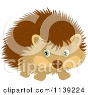 Cartoon Of A Cute Brown Hedgehog Royalty Free Vector Clipart