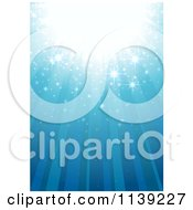Clipart Of A Blue Magic Background With Rays And Sparkles Royalty Free Vector Illustration