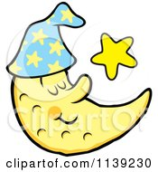 Cartoon Of A Content Sleeping Crescent Moon And Star Royalty Free Vector Clipart