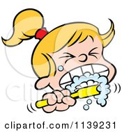 Cartoon Of A Blond Girl Aggressively Brushing Her Teeth Royalty Free Vector Clipart by Johnny Sajem