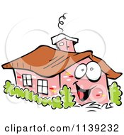 Cartoon Of A Happy Brick Home And Shrubs Royalty Free Vector Clipart