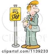 Cartoon Of A Businessman Checking His Watch At A Bus Stop Royalty Free Vector Clipart by Johnny Sajem