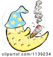Cartoon Of A Crescent Moon Man Smoking A Cigar Royalty Free Vector Clipart