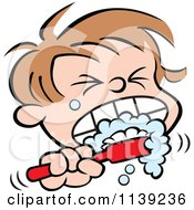 Cartoon Of A Boy Aggressively Brushing His Teeth Royalty Free Vector Clipart