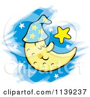 Cartoon Of A Content Sleeping Crescent Moon And Stars Royalty Free Vector Clipart