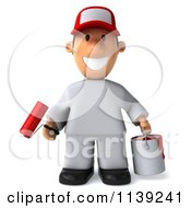 Clipart Of A 3d Toon Guy House Painter 1 Royalty Free CGI Illustration