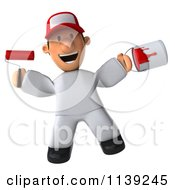 Clipart Of A 3d Jumping Toon Guy House Painter Royalty Free CGI Illustration by Julos