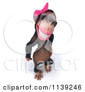 Clipart Of A 3d Female Chimp Grinning Royalty Free CGI Illustration