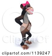 Clipart Of A 3d Female Chimp Facing Right And Grinning Royalty Free CGI Illustration