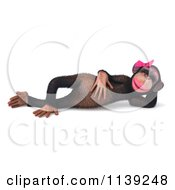 Clipart Of A 3d Female Chimp Resting Royalty Free CGI Illustration