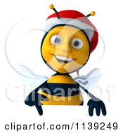 Clipart Of A 3d Christmas Bee With A Sign 4 Royalty Free CGI Illustration