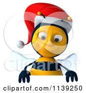 Clipart Of A 3d Christmas Bee With A Sign 3 Royalty Free CGI Illustration