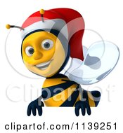 Clipart Of A 3d Christmas Bee With A Sign 5 Royalty Free CGI Illustration