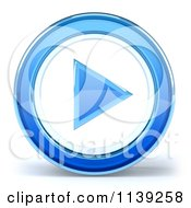 Clipart Of A 3d Blue Glass Play Button Icon On White 1 Royalty Free CGI Illustration
