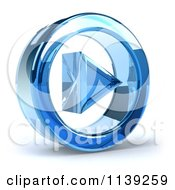 Clipart Of A 3d Blue Glass Play Button Icon On White 2 Royalty Free CGI Illustration