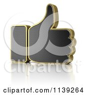Clipart Of A 3d Gold And Perforated Metal Thumb Up Icon Royalty Free CGI Illustration