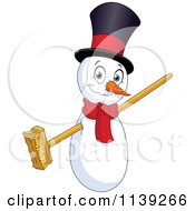 Cartoon Of A Christmas Snowman With A Broom For Arms Royalty Free Vector Clipart