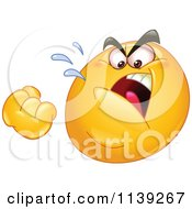 Cartoon Of A Mad Emoticon Threatening With A Fist Royalty Free Vector Clipart