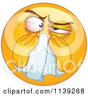 Cartoon Of A Sick Emoticon Blowing His Nose Royalty Free Vector Clipart