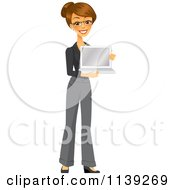 Clipart Of A Happy Brunette Businesswoman Holding A Laptop Royalty Free Vector Illustration by Amanda Kate