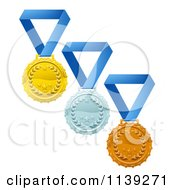 Clipart Of Gold Silver And Bronze Laurel Award Medals On Blue Ribbons Royalty Free Vector Illustration