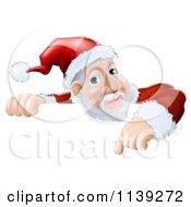 Cartoon Of A Santa Pointing Down At A Christmas Sign Royalty Free Vector Clipart