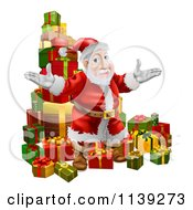 Cartoon Of Santa Standing In Front Of A Pile Of Presents Royalty Free Vector Clipart