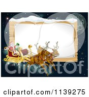 Cartoon Of Santas Christmas Reindeer Sleigh In The Sky Over A Wooden Sign Royalty Free Vector Clipart
