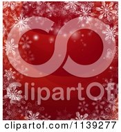 Clipart Of A Red Christmas Background Bordered In Snowflakes Royalty Free Vector Illustration