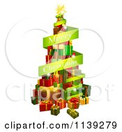 Clipart Of A Tree Of Gifts And Merry Christmas Greeting Banner Royalty Free Vector Illustration by AtStockIllustration