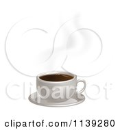 Hot Cup Of Coffee With Steam And A Saucer