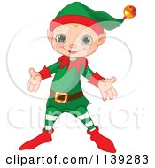 Cartoon Of A Cute Happy Christmas Elf Royalty Free Vector Clipart by Pushkin