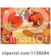 Cartoon Of An Autumn Background Of Blushing Trees And A Path Royalty Free Vector Clipart
