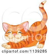 Cartoon Of A Cute Ginger Cat Stretching Royalty Free Vector Clipart