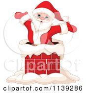 Cartoon Of A Jolly Santa Popping Out Of A Chimney Royalty Free Vector Clipart by Pushkin