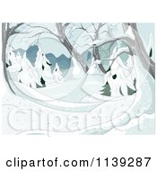Cartoon Of A Winter Background Of Snow Covered Trees Royalty Free Vector Clipart by Pushkin