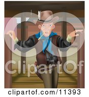 Cowboy Man Chewing On Straw And Standing Between Open Swing Doors Clipart Illustration by AtStockIllustration