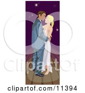 Young Romantic Couple Dancing Under A Night Sky Clipart Illustration