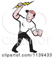 Clipart Of A Retro Electrician Holding A Bolt Royalty Free Vector Illustration by patrimonio